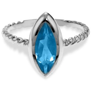 SOLID GOLD RINGS WITH NATURAL MARQUIS BLUE TOPAZ